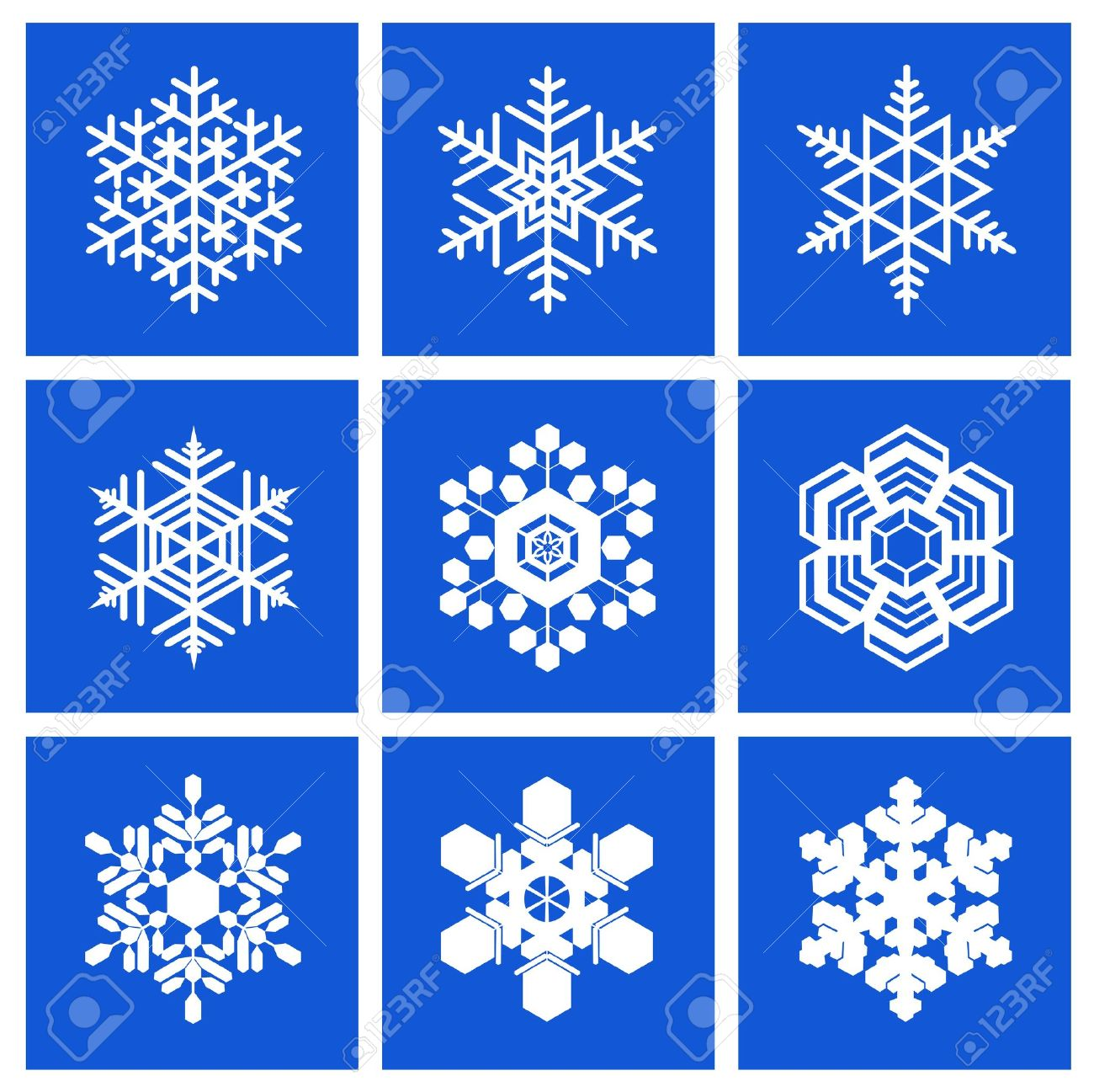 Snowflakes of different shapes are shown in the image. - 11270720