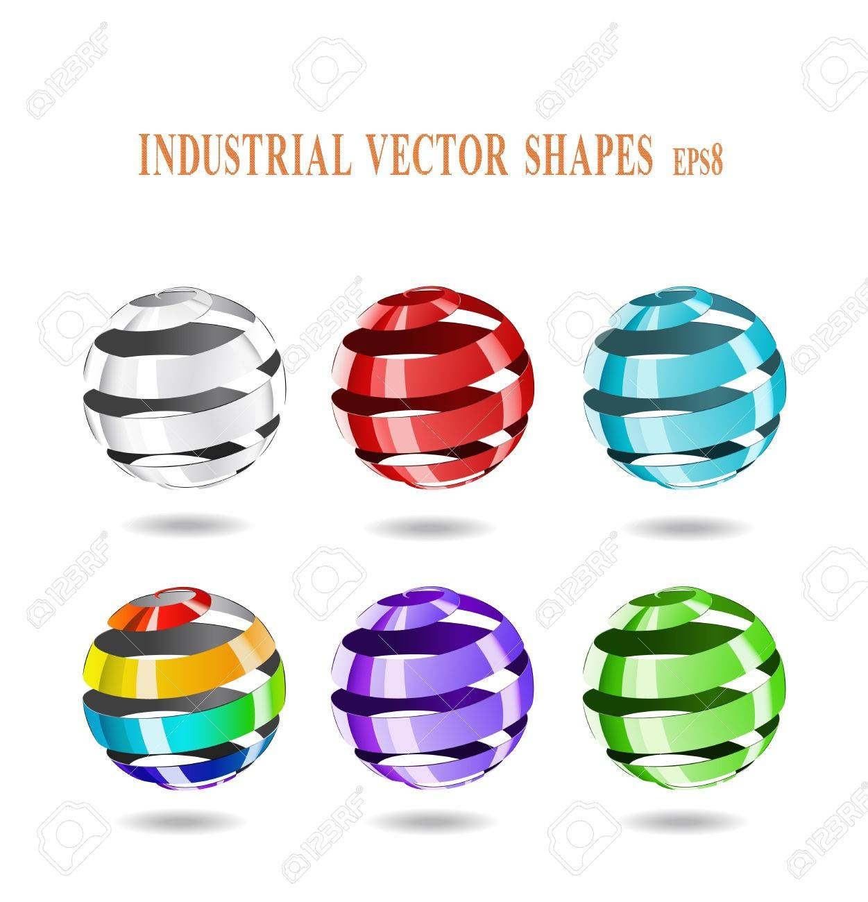 Multi-colored balls of steel strip are shown in the image. Stock Vector - 11451149