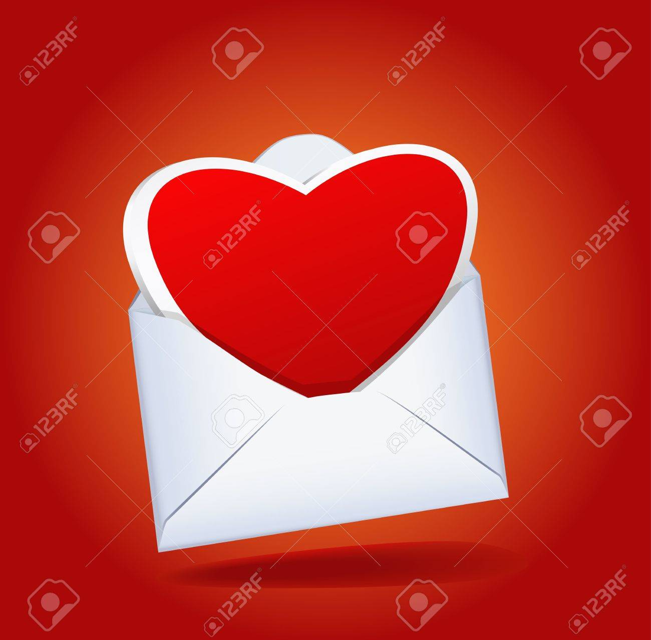 Heart and a mailing envelope on the red background are shown in the image. Stock Vector - 11914116