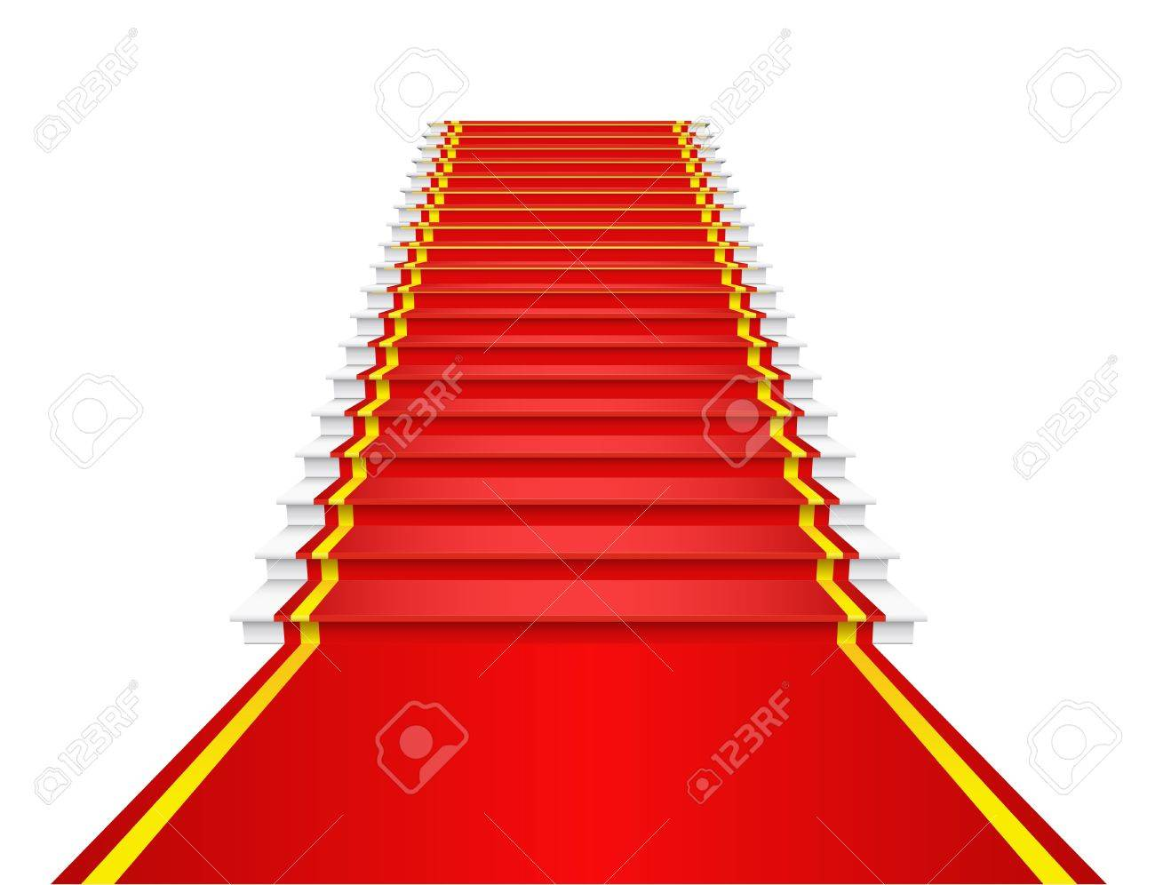 Red carpet on the stairs is shown in the image. Stock Vector - 12067457