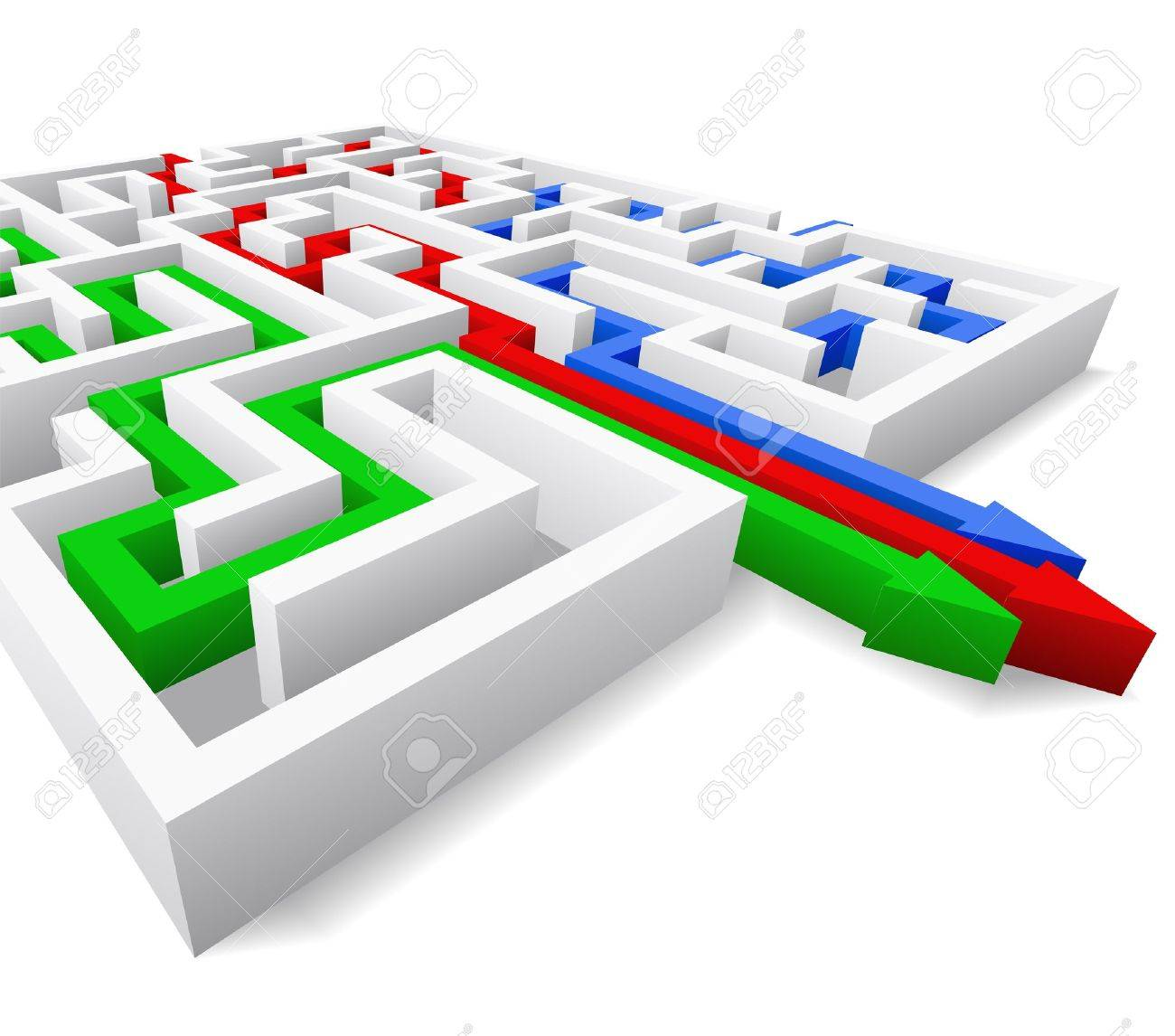 Maze and colored arrows are shown in the image. Stock Vector - 12067458