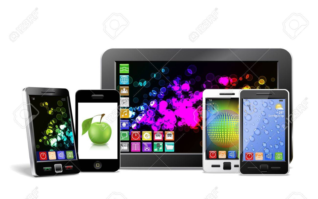 Mobile phone, tablet PC and player are shown in the image. - 12195462