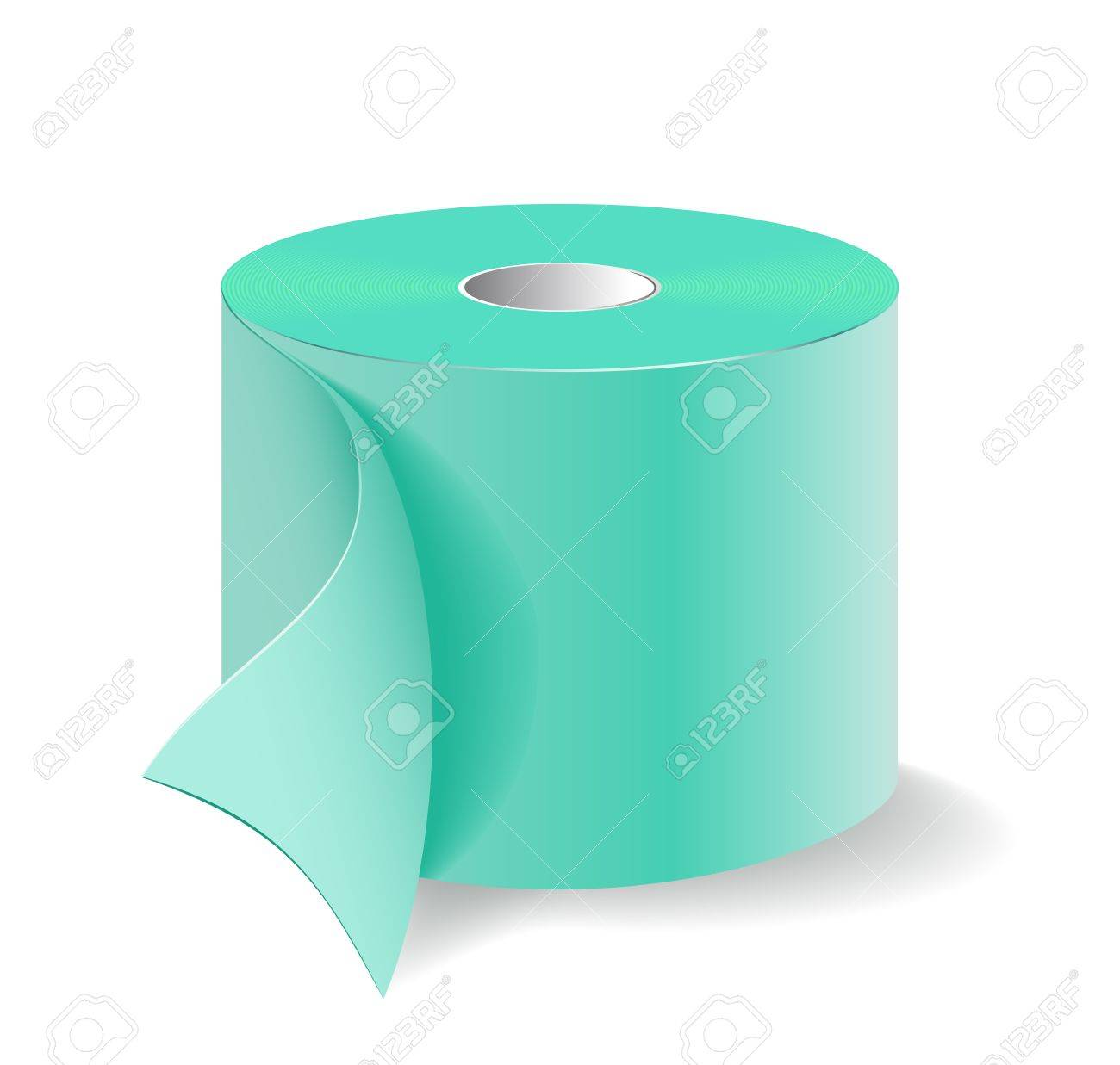 Roll of green toilet paper is shown in the image. - 12195463