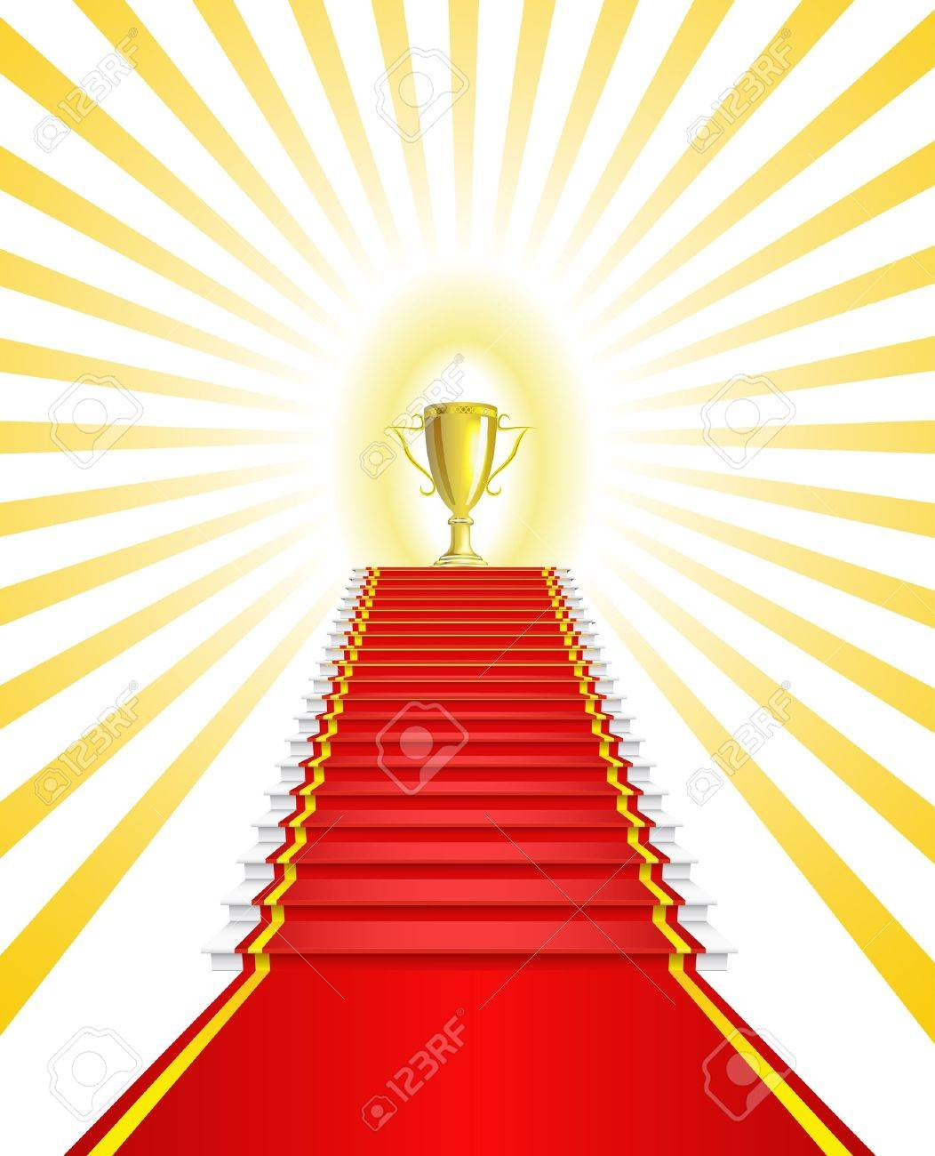 Gold Cup on the red carpet is shown in the picture Stock Vector - 12480969