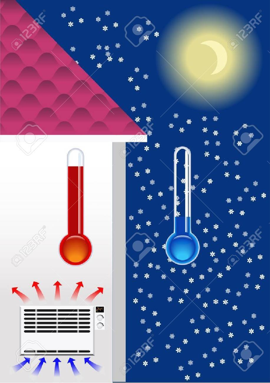 The heater in the house in winter - 12941707
