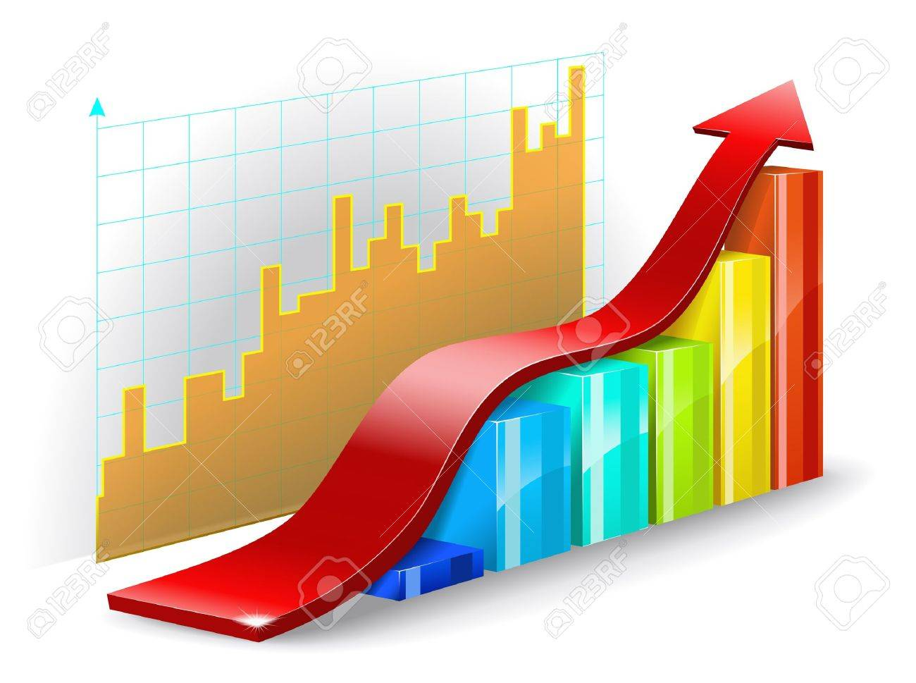 Colorful diagram, graph, and the red arrow on a white background are shown in the picture Stock Vector - 13035837