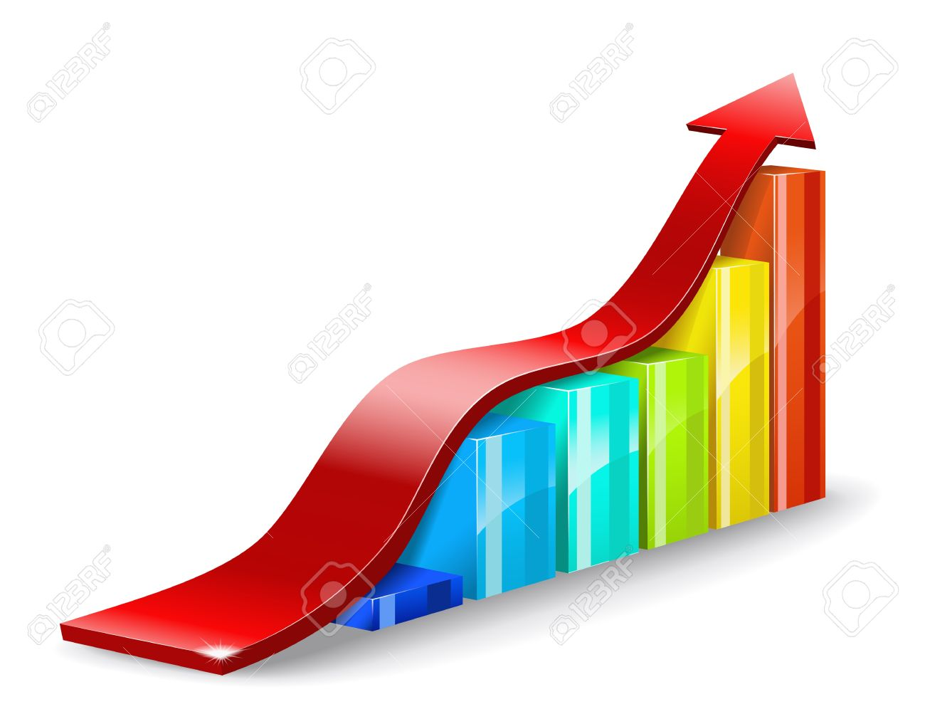 Colorful chart and a red arrow on a white background are shown in the picture Stock Vector - 13035836