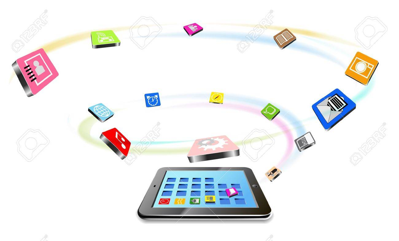 Tablet PC and flying icons are shown in the image Stock Vector - 14087099