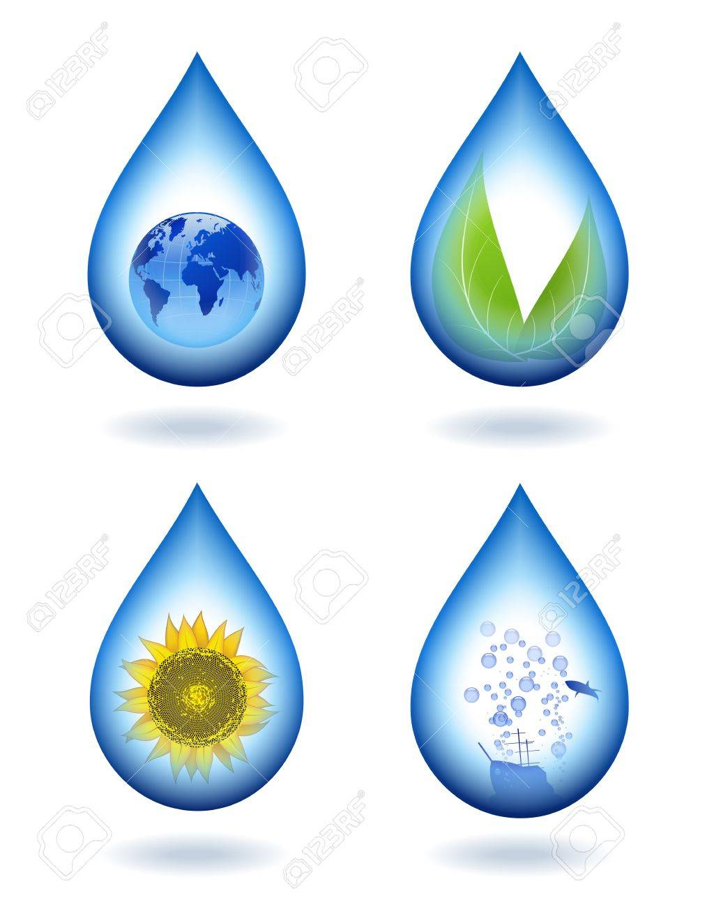 Water droplets with different contents. - 14205041