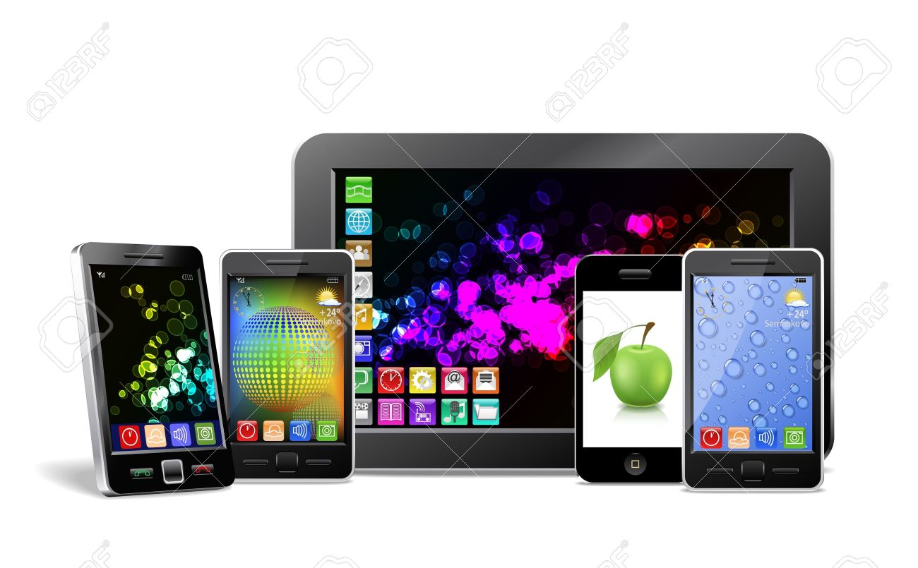 Tablet PC, mobile phones and player are shown in the image Stock Vector - 14690798