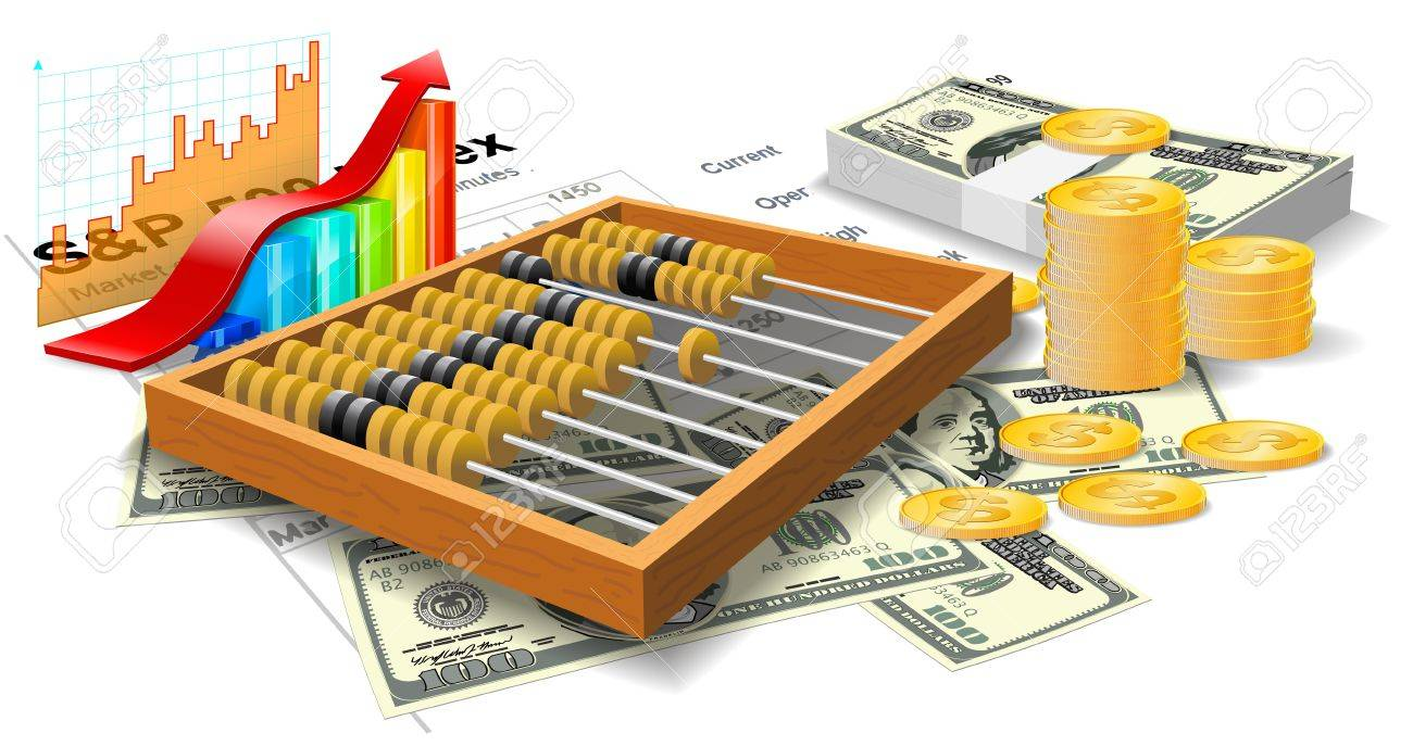 Wooden abacus, bills and coins are on the white background - 14958779