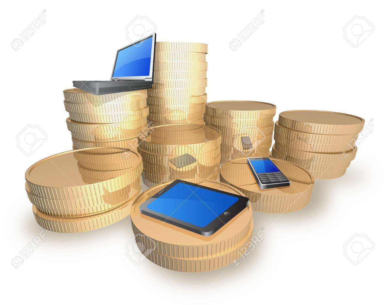 Gold coins and devices are on white background. Stock Photo - 14958780