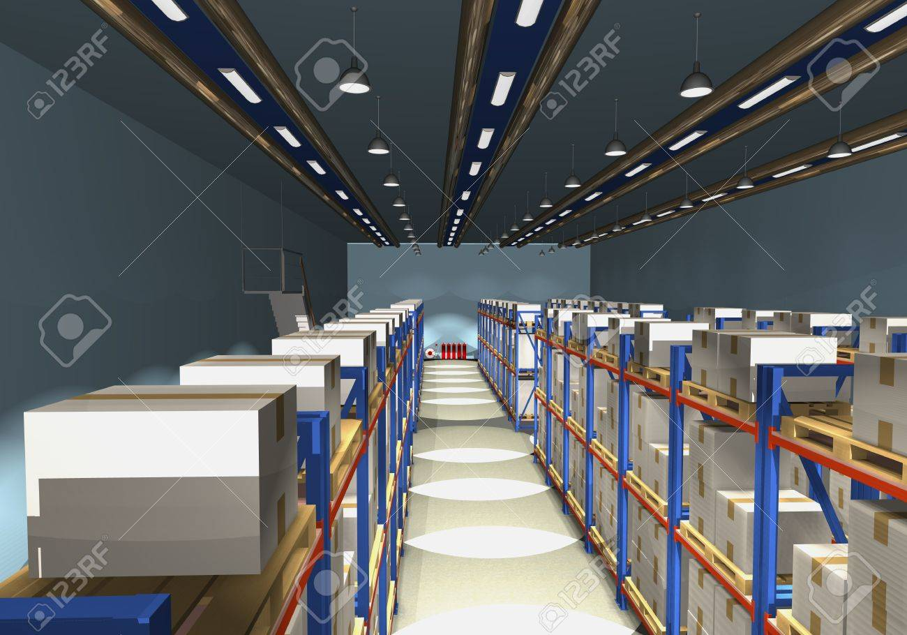 Racks, palettes and boxes are shown in the image. Stock Photo - 15700357