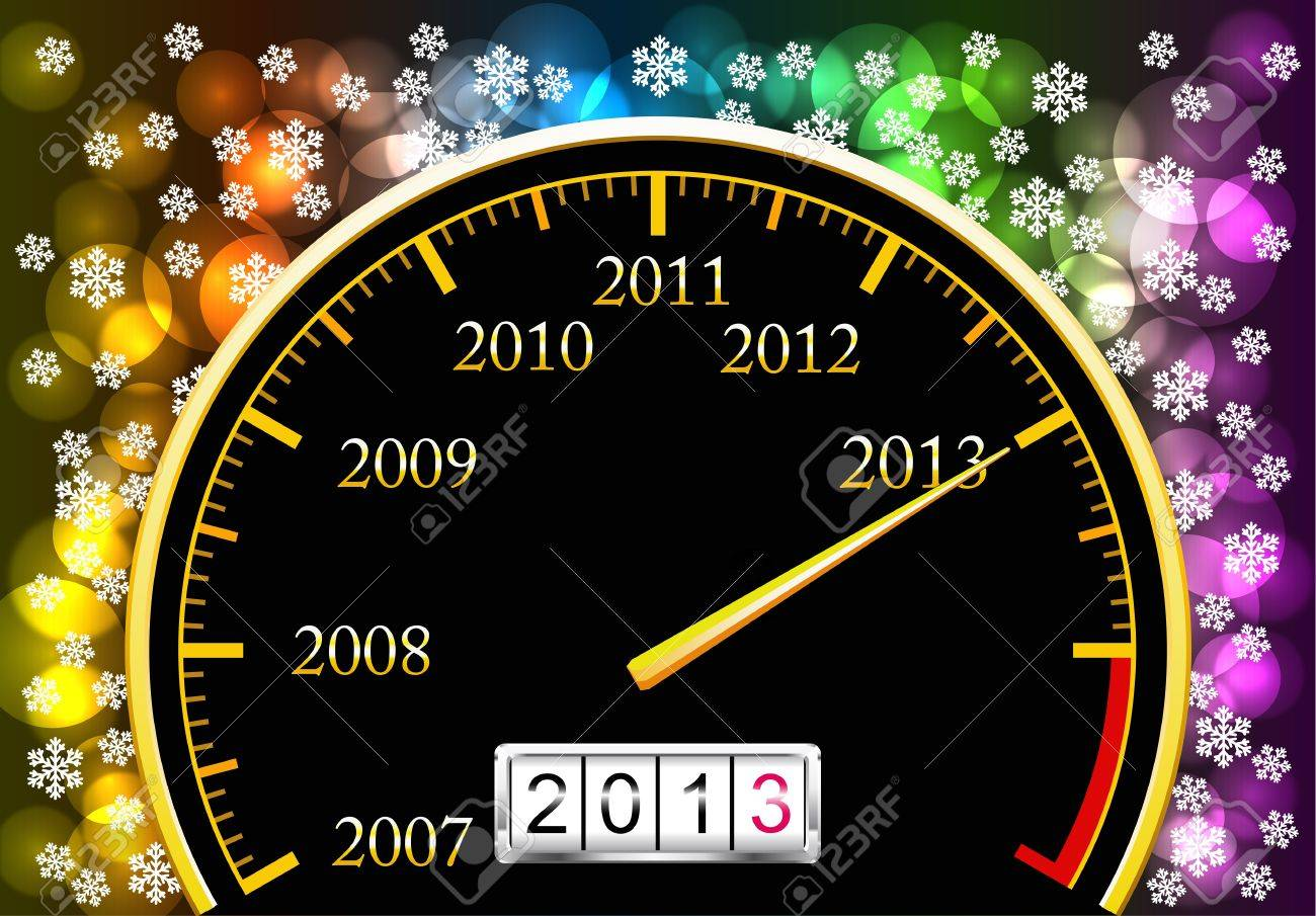 Speedometer with coming new year is shown in the picture Stock Vector - 16240406