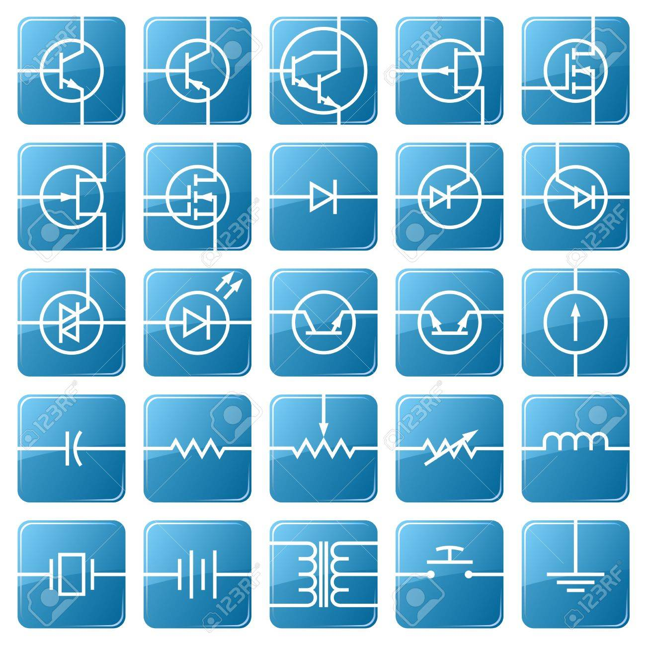Symbols Of Electronic Components Are Shown In The Picture. Royalty ...