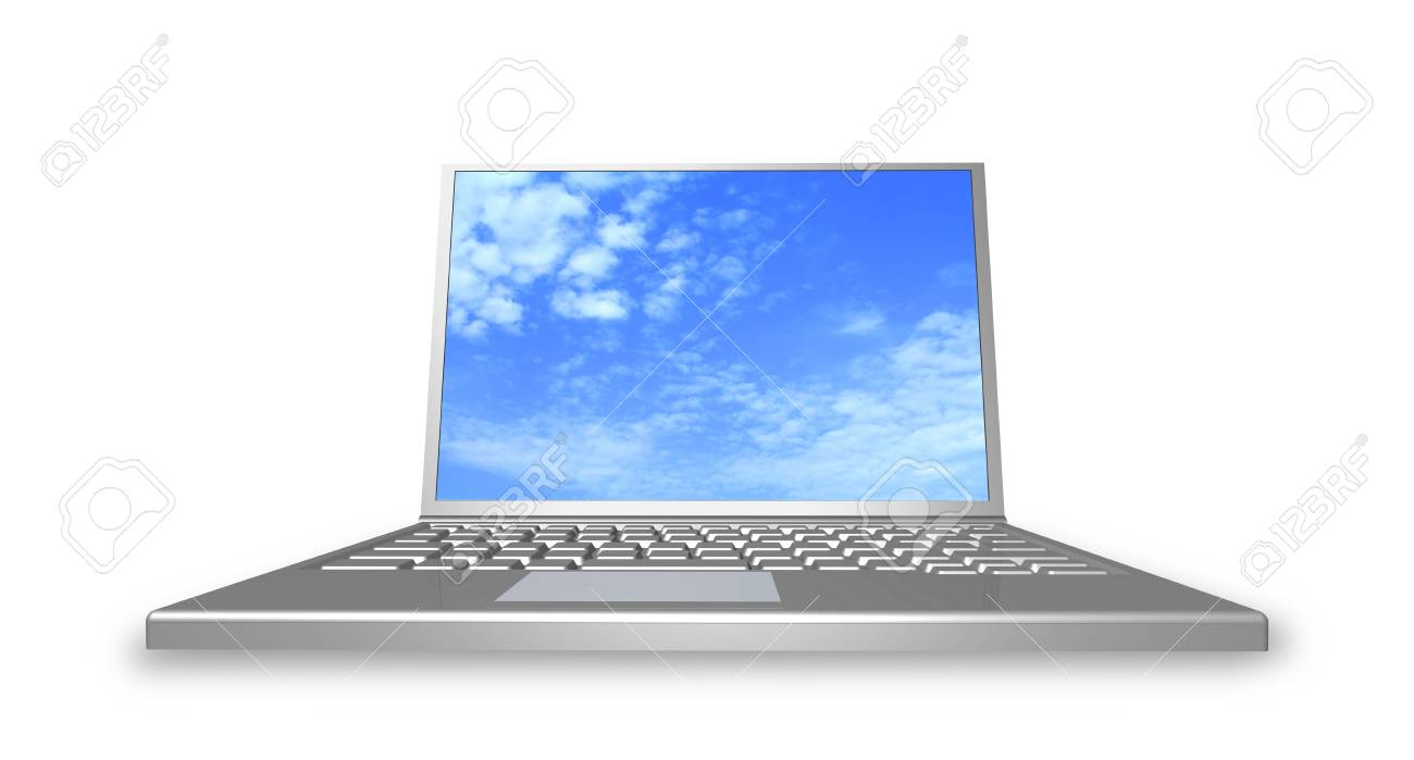 Laptop on the white background is shown in the image. Stock Photo - 17380738