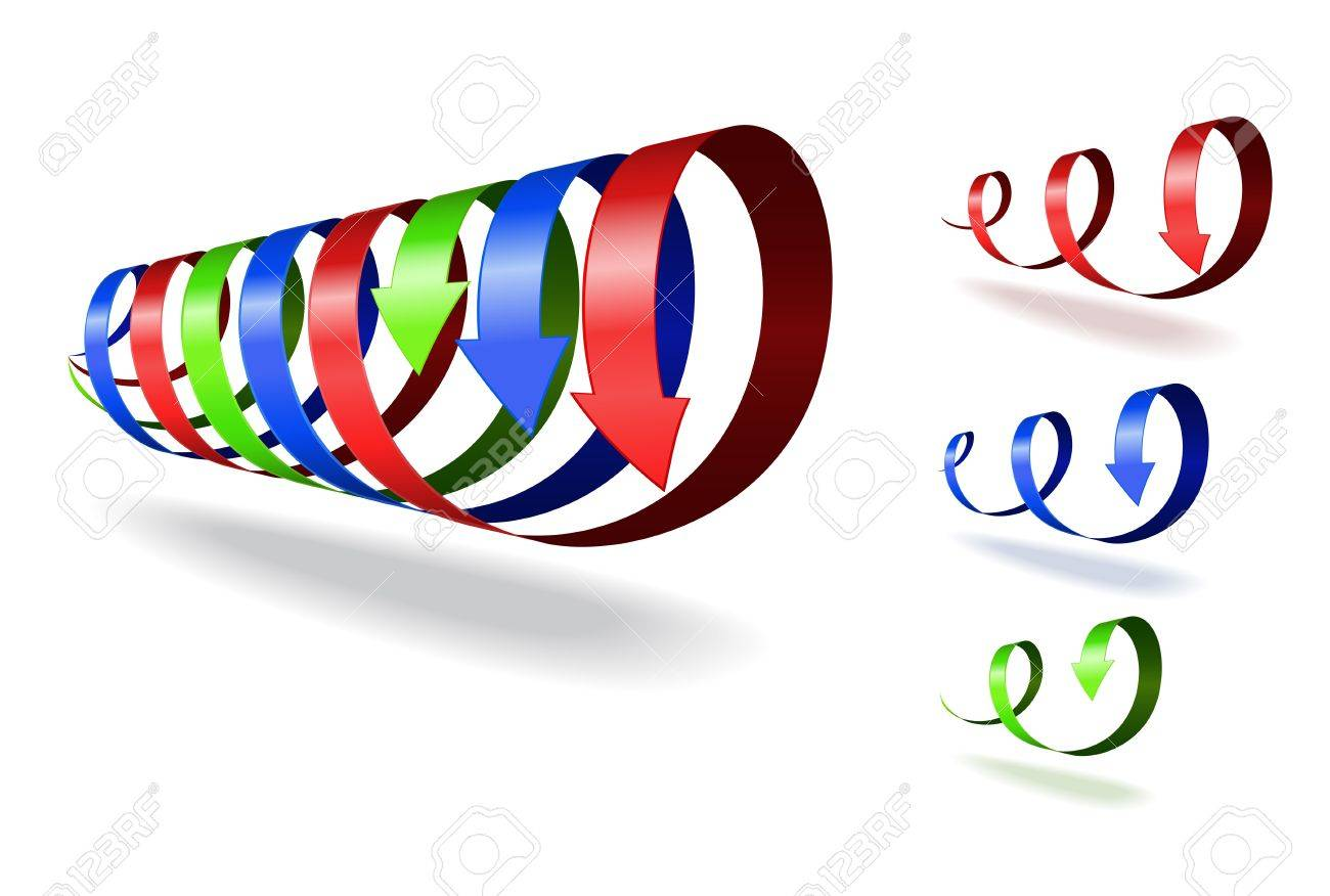 Set of red, blue, green spiral arrows on white background. Stock Vector - 17727156