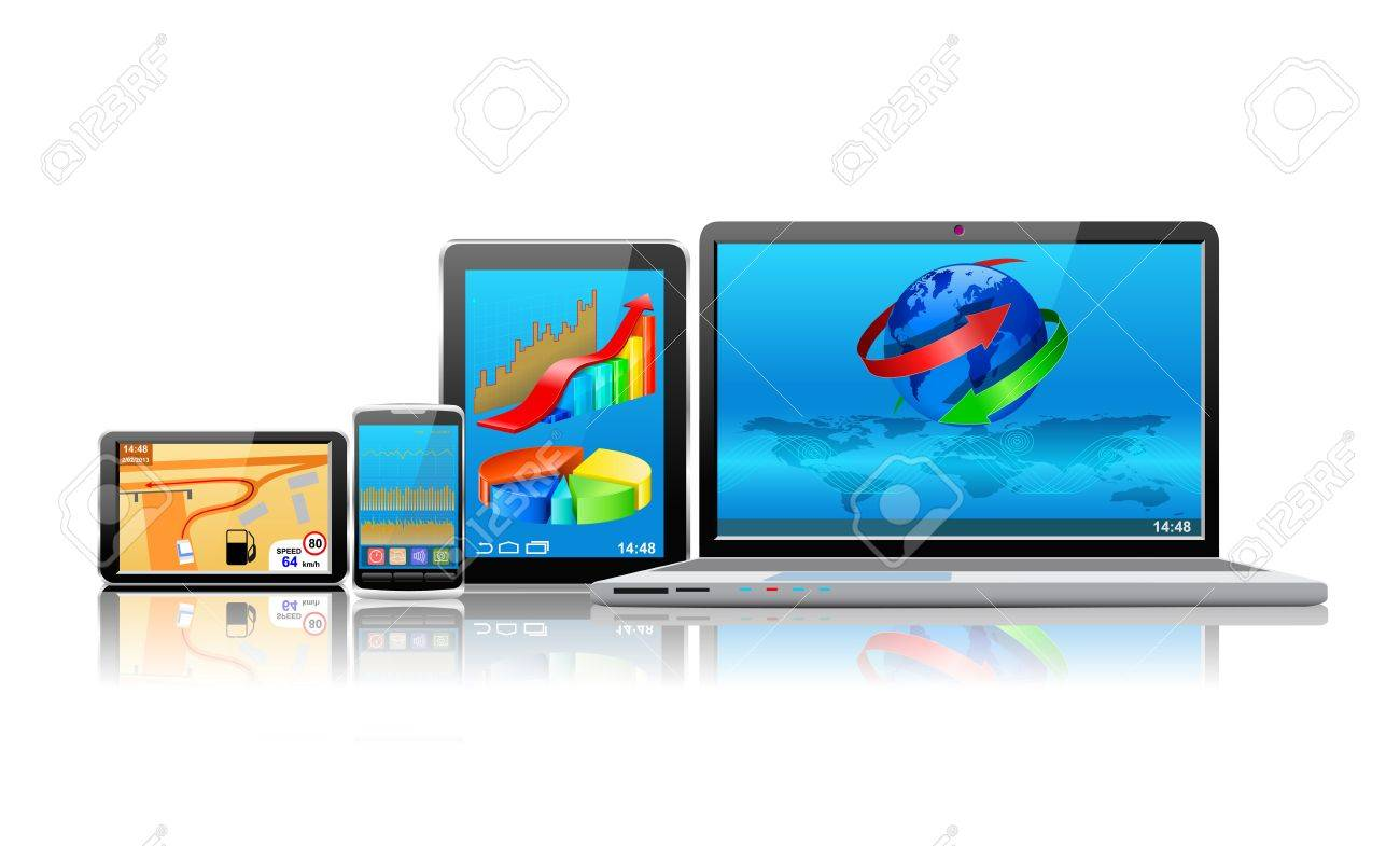 Laptop, tablet pc, mobile phone and navigator are shown in the image. - 18124563