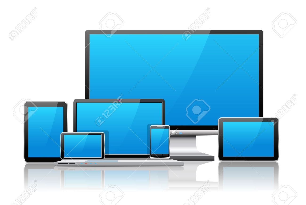 Laptop, tablet pc, mobile phone and navigator are shown in the image. Stock Vector - 18179978