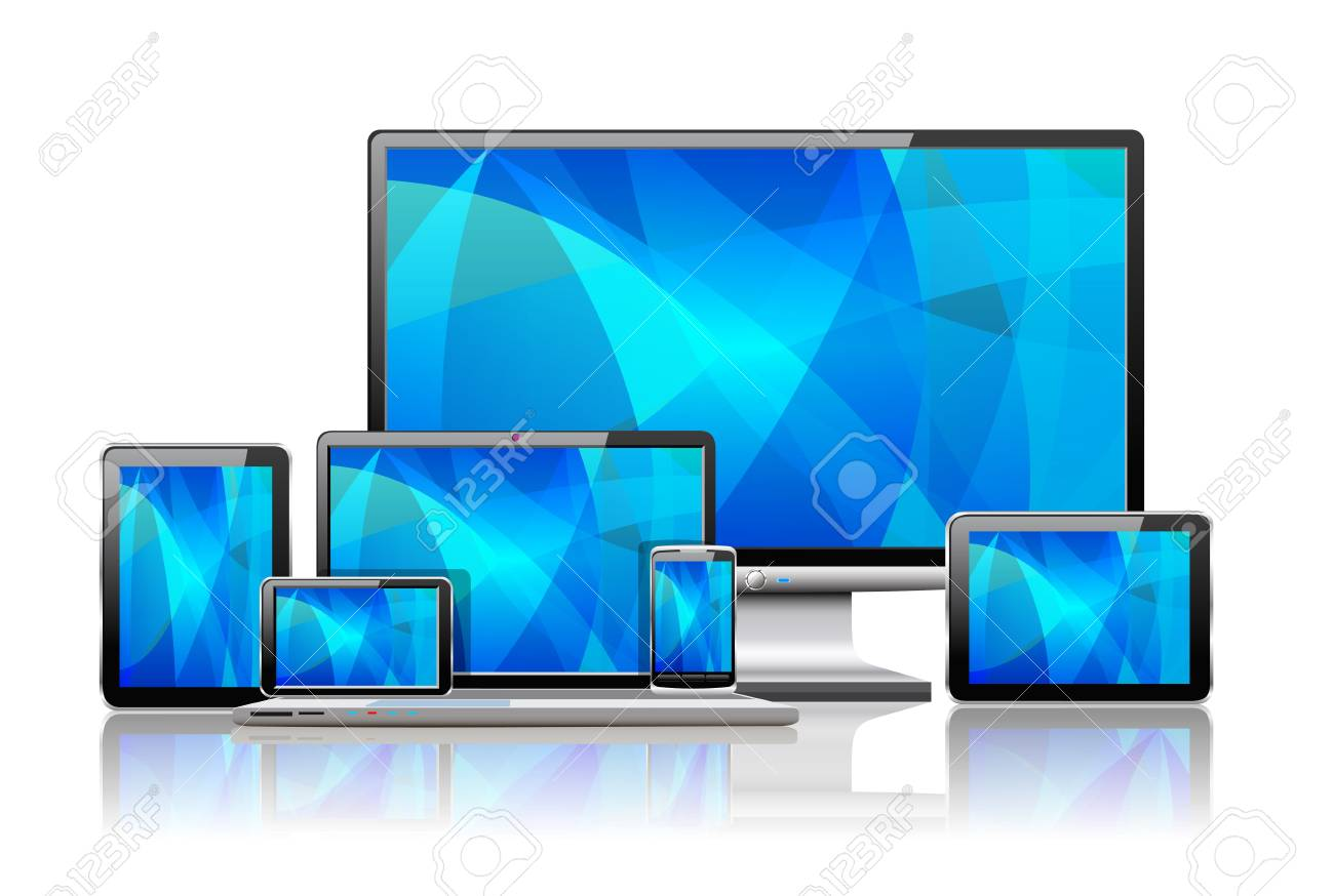 Laptop, tablet pc, mobile phone and navigator are shown in the image. Stock Vector - 18246354