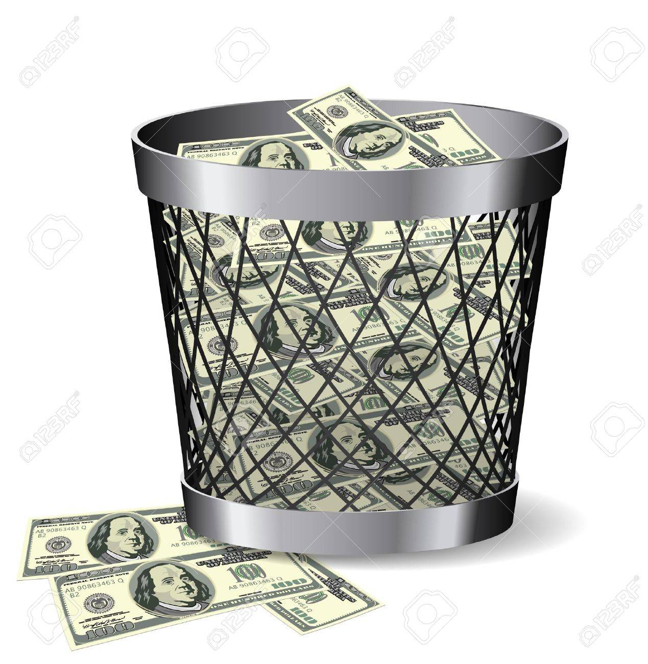 Steel paper bin with bills is on white background. Stock Vector - 18347906