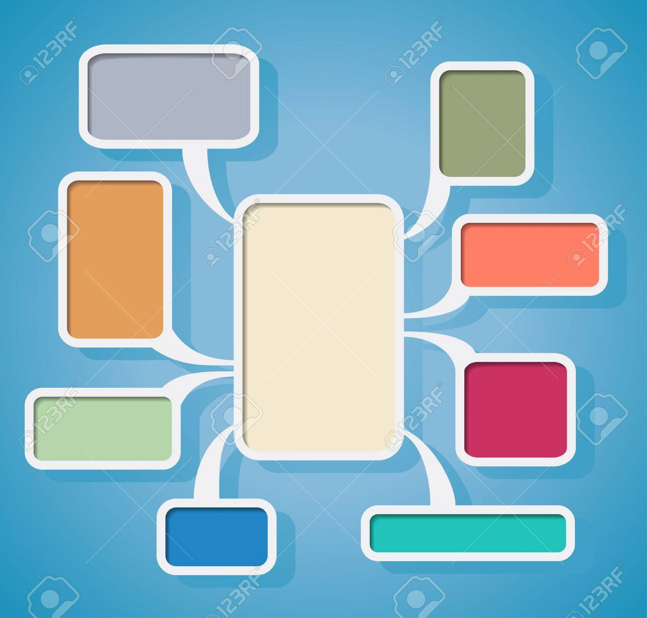 Flowchart with colored clouds is shown in the image. Stock Vector - 18563310
