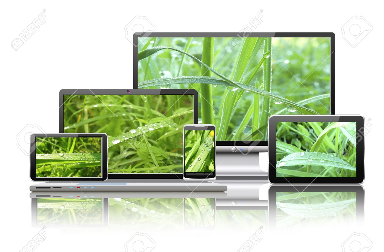 Laptop, tablet pc, mobile phone, TV and navigator with nature wallpaper are shown in the image Stock Photo - 18690691
