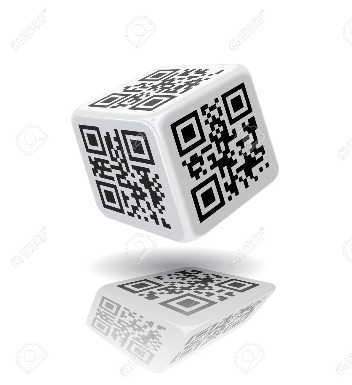 QR-code cube is on the white background - 19443250