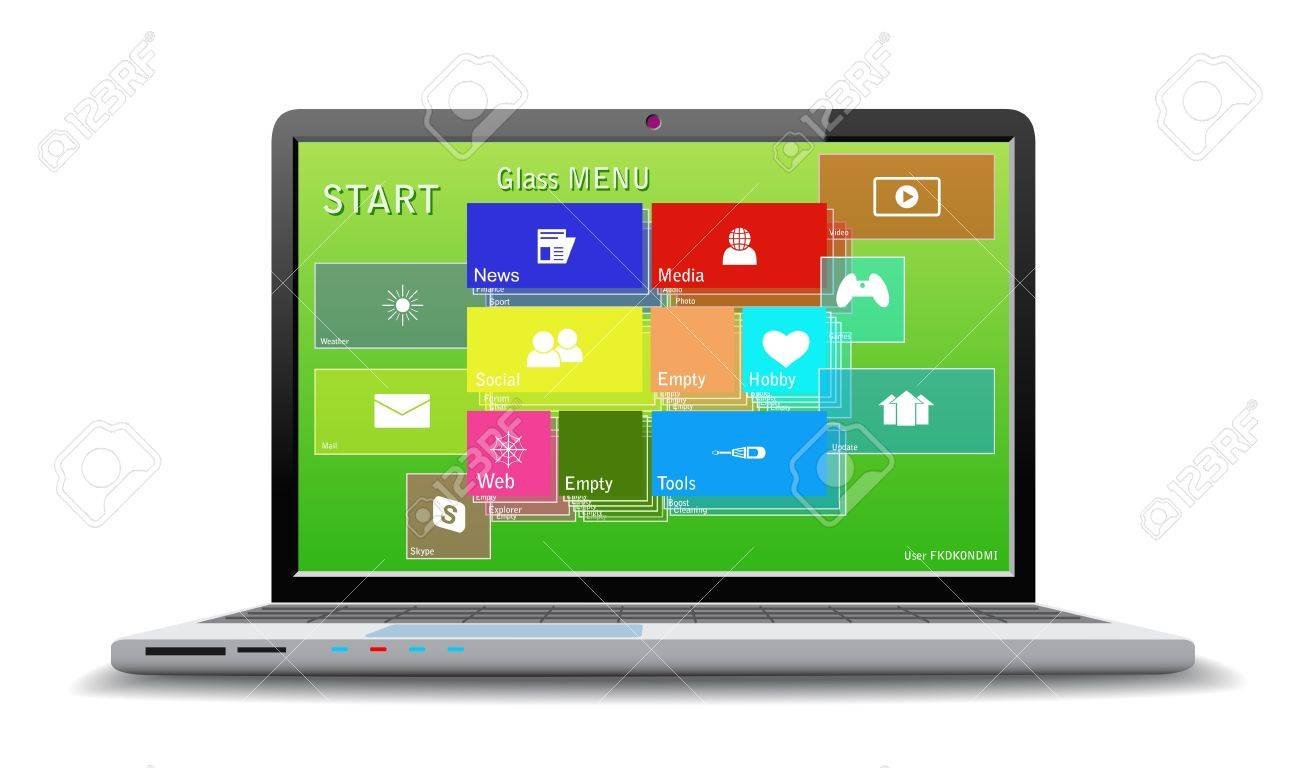 Computer with modern desktop. Stock Vector - 21004263