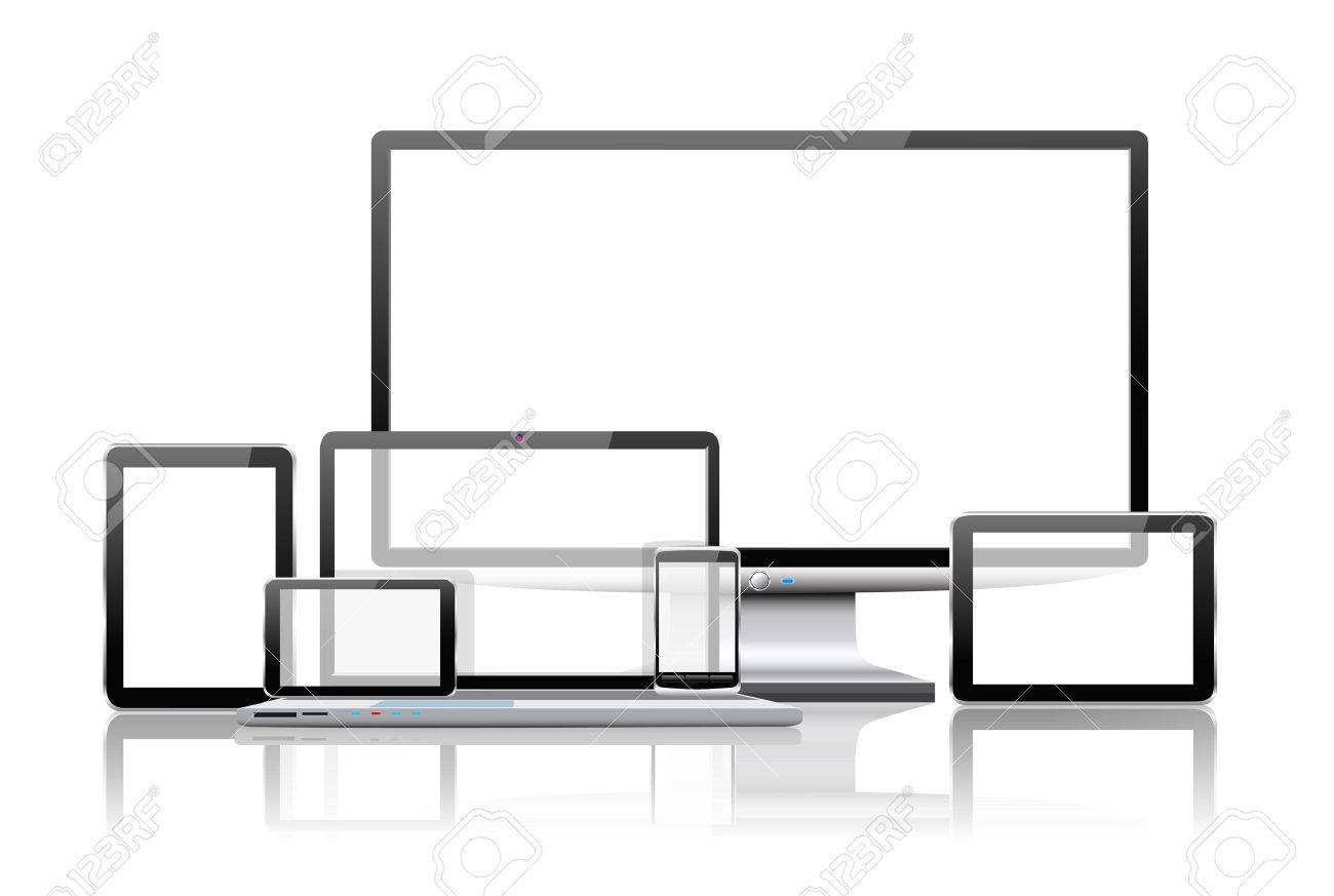 Laptop, tablet pc, mobile phone and navigator are shown in the image. Stock Vector - 21911331