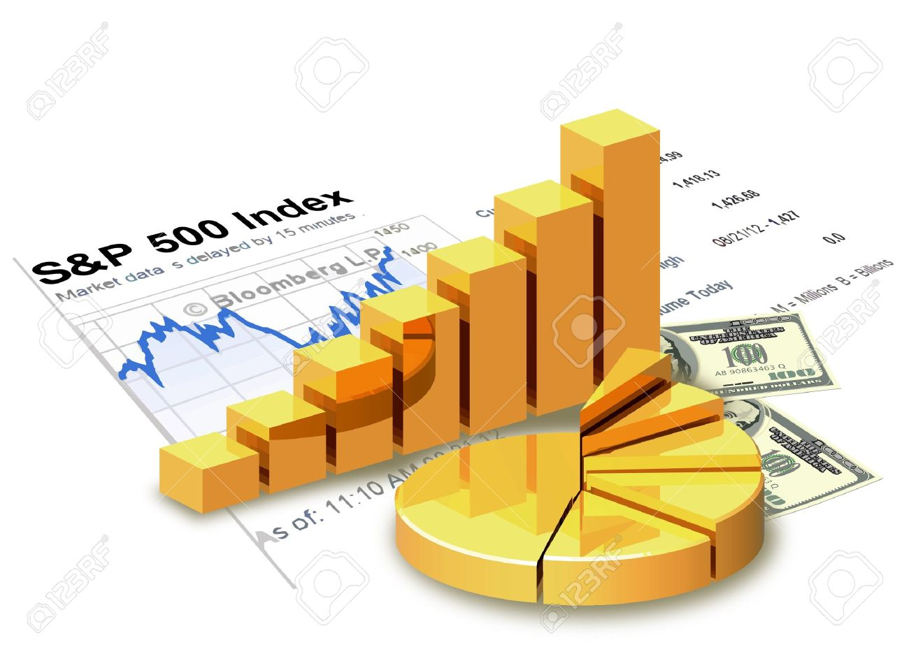 Gold chart, money, financial statement are on white background - 22026141