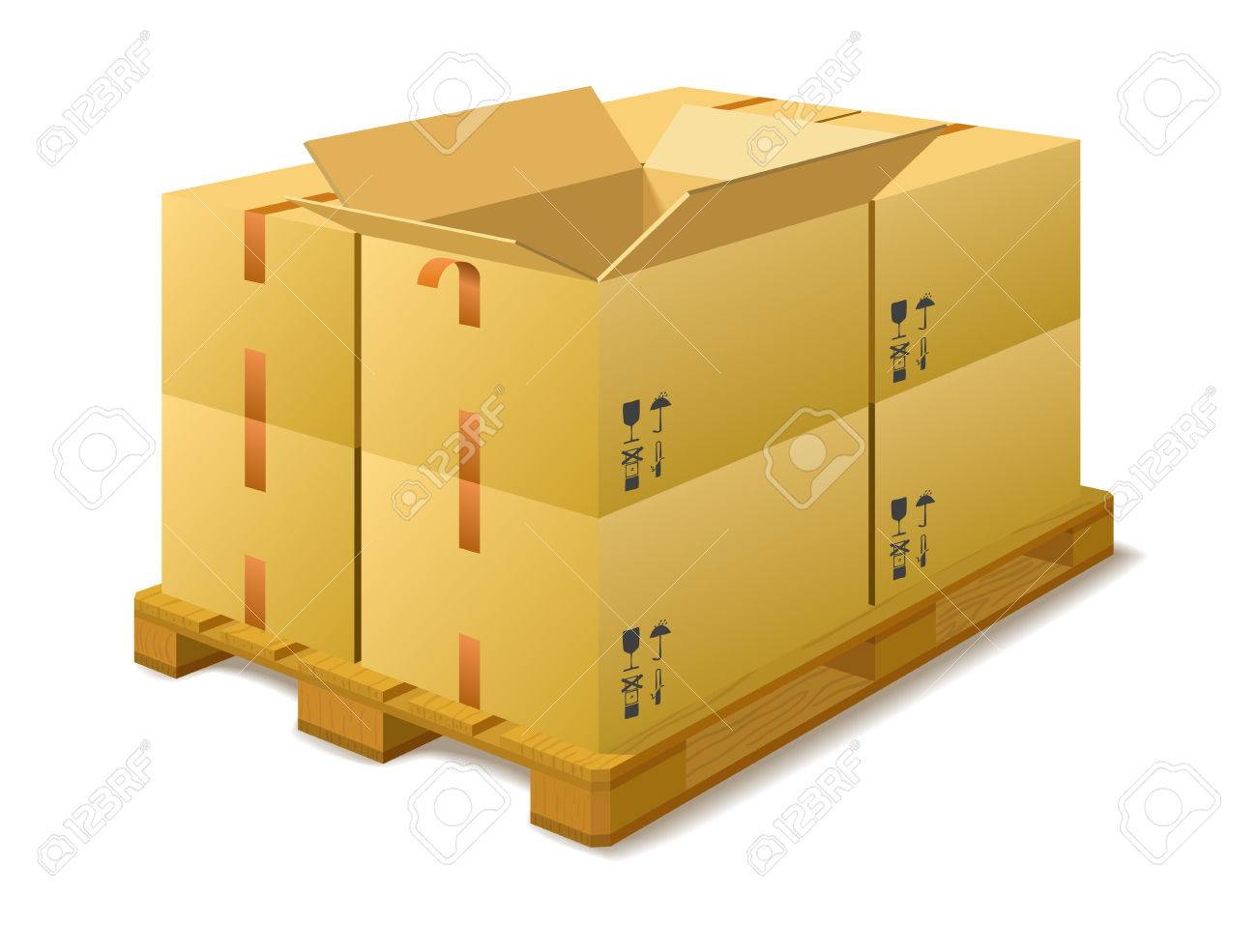 Cardboard boxes on a pallet in a warehouse on a white background - 24959019