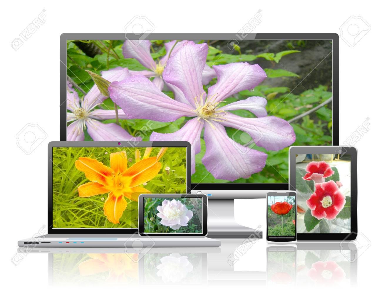 ラップトップ タブレット Pc 携帯電話 テレビ ナビゲーターは 花