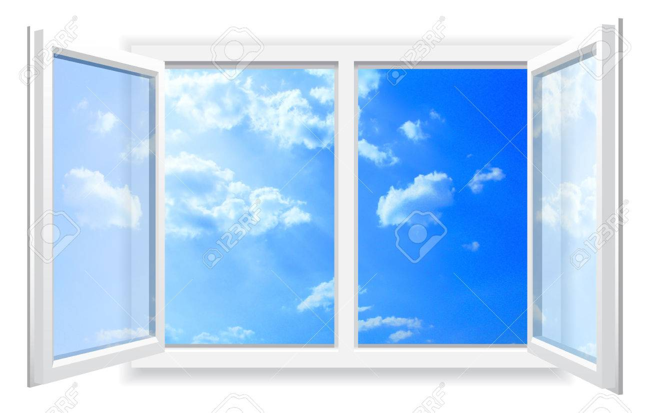 Open window on white wall and the cloudy sky Stock Photo - 27525399