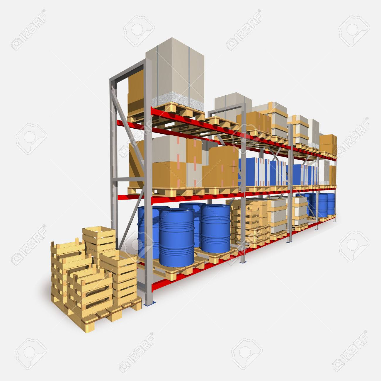 Storage racks and pallets with various products are shown at picture. - 34878289