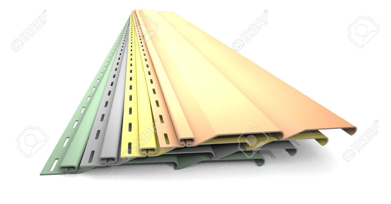 Plastic siding panels of different colors are on white background. - 44304506