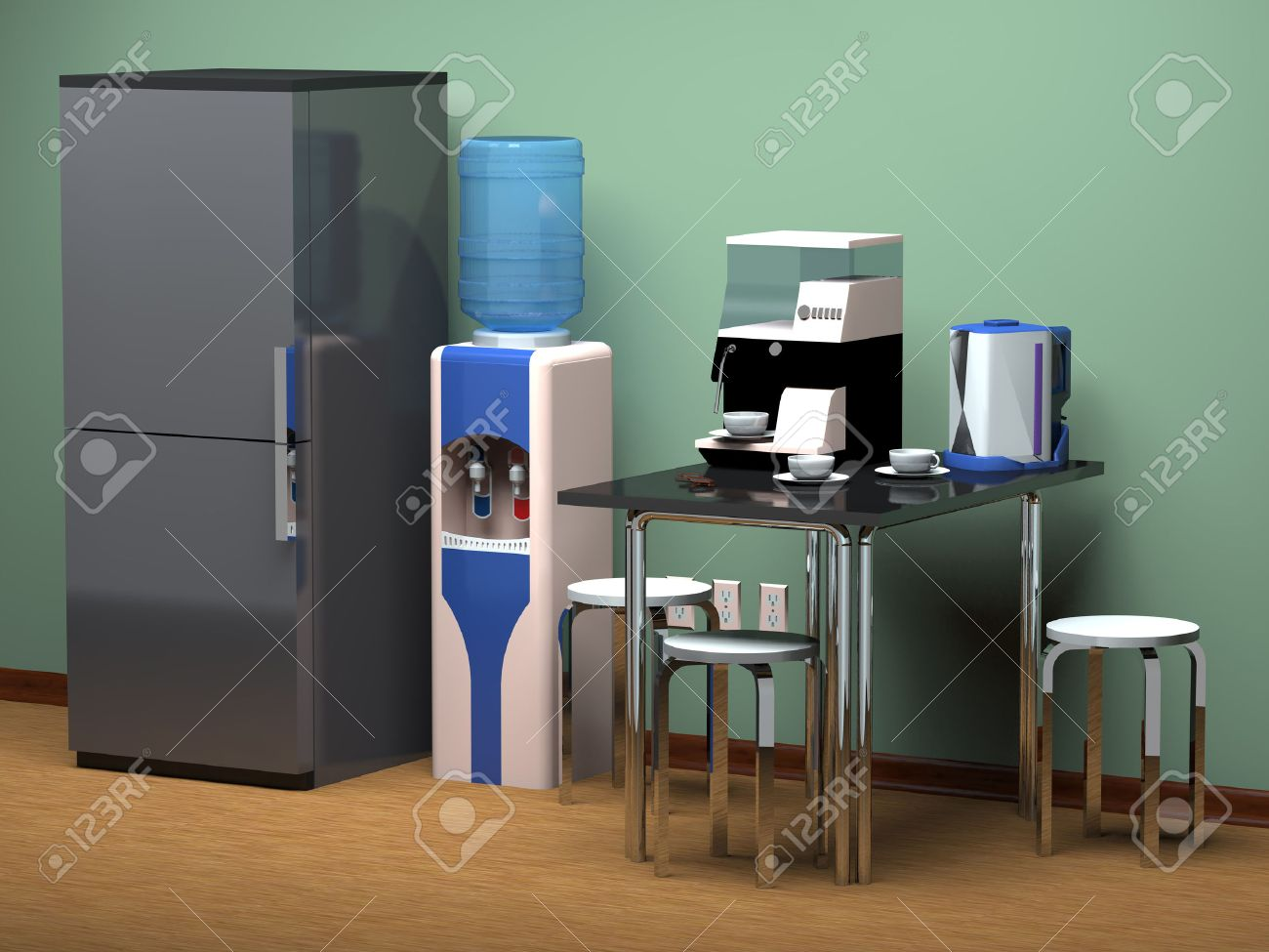 Refrigerator, kitchen table, drinking water cooler at the office. - 48899767