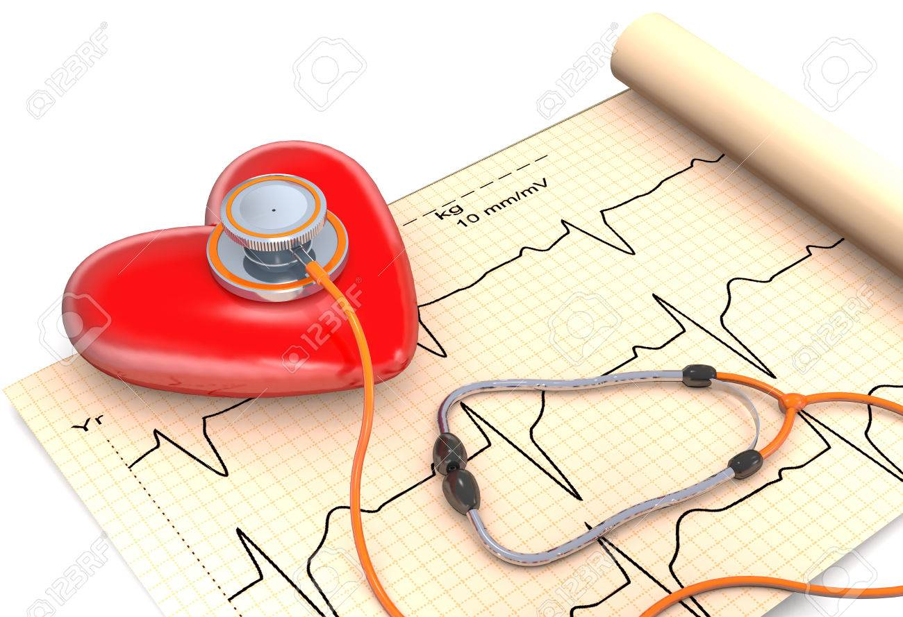 Stethoscope, paper, cardiogram and red heart are on white background. Stock Photo - 50908884