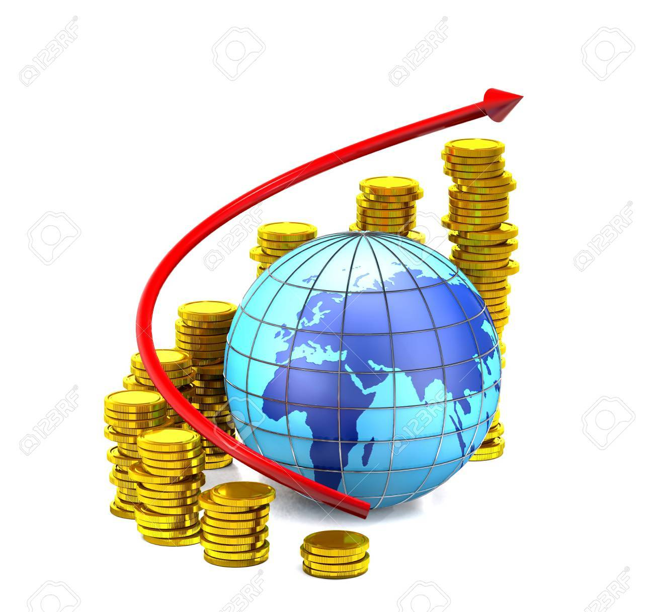Globe, gold coins and red arrow on white background. - 51466574