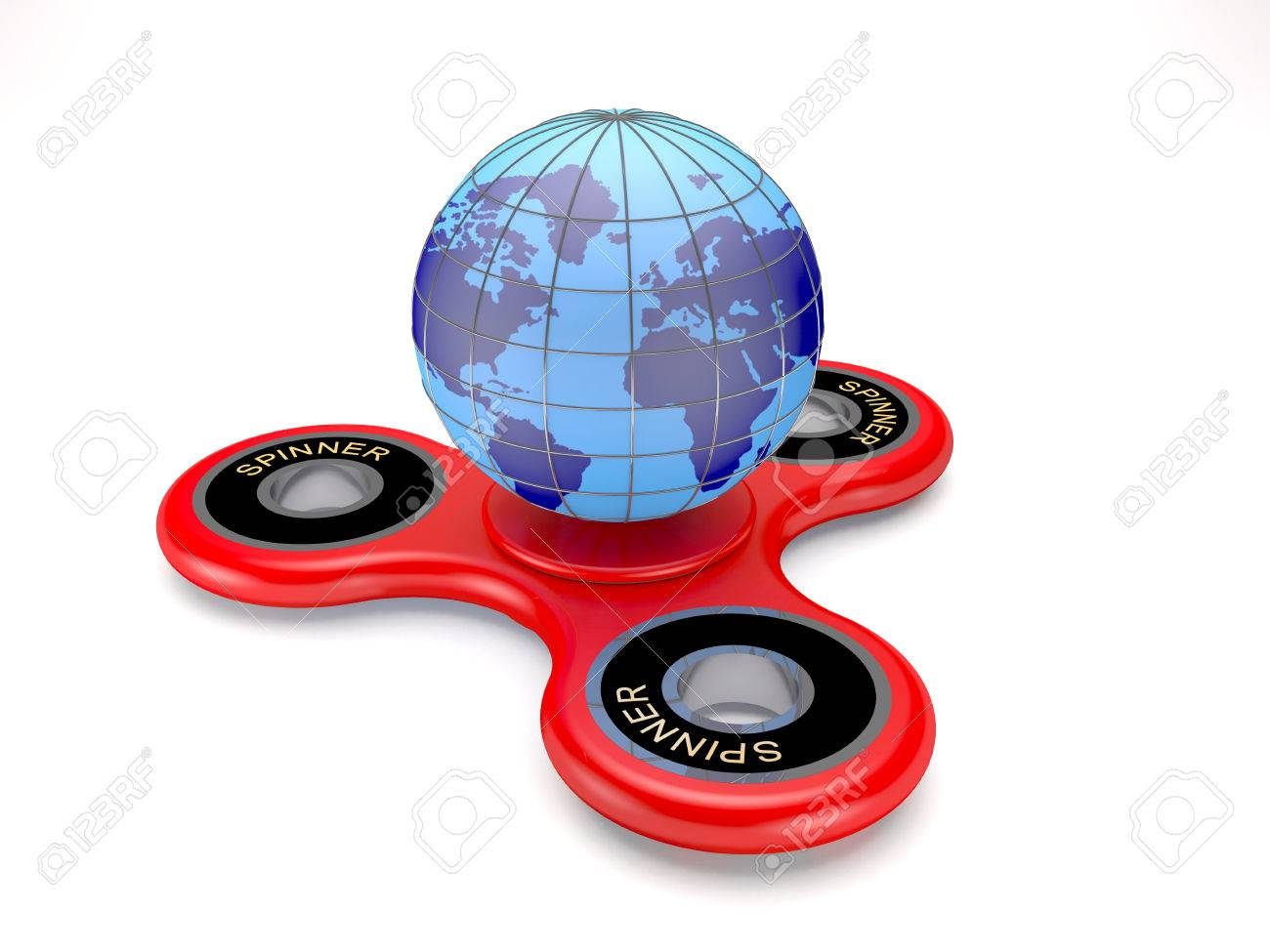 modern toy spinner and earth globe on white background (d  - modern toy spinner and earth globe on white background (d illustration)stock illustration