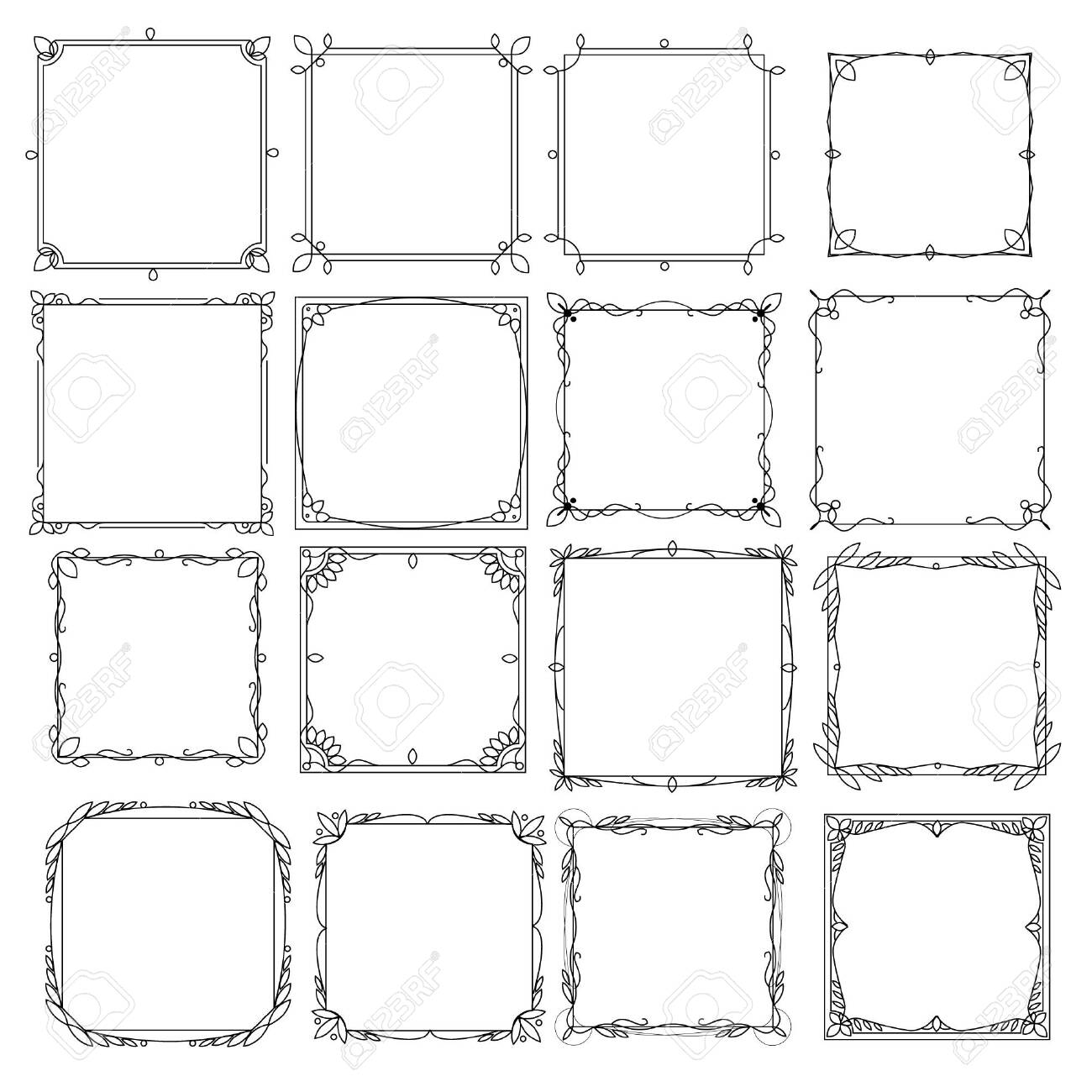 Set of decorative frames with a pattern isolated on white background. Retro ornamental frame, vintage rectangle ornaments and ornate border. - 140808515