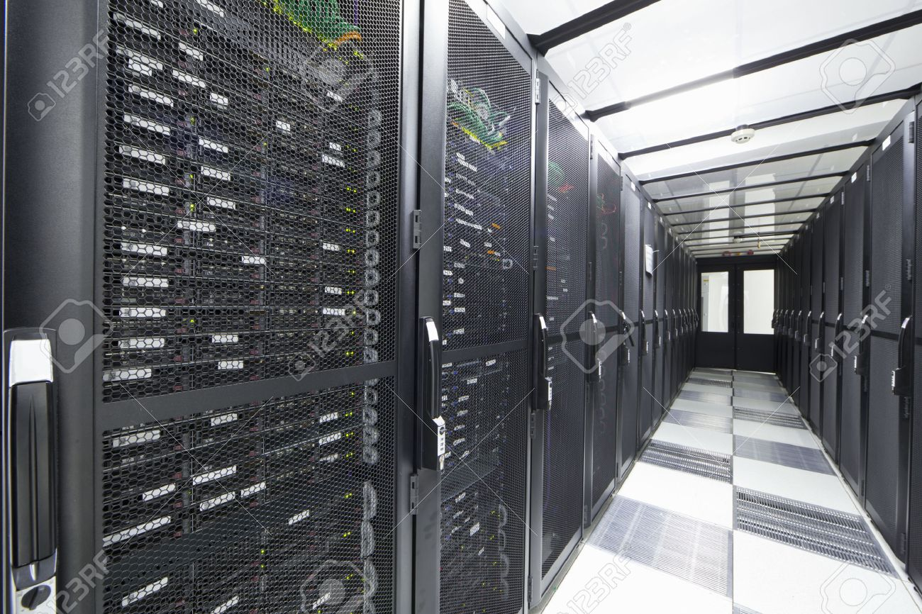 Servers In Storage Cabinets In Data Center Stock Photo, Picture ...