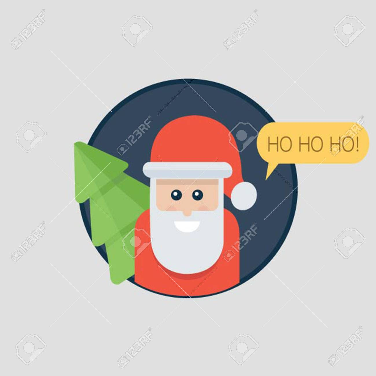 Santa Claus Ho Ho Ho. Christmas Card With Santa Holding Christmas ...