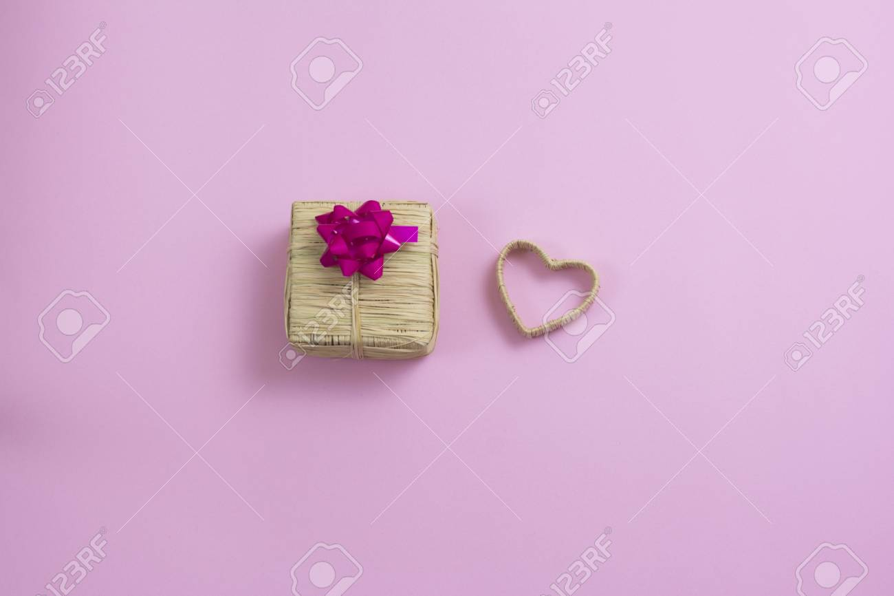 Valentines Day Isolated Pink Background Composition Heart Gift