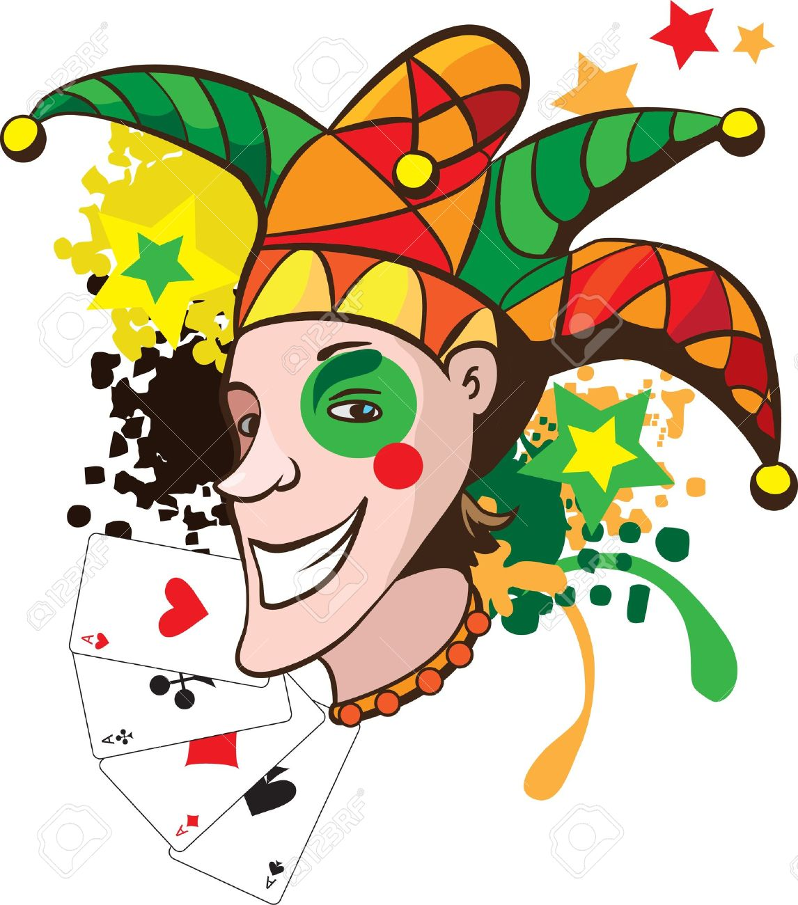 Smiling joker with cards and stars vector illustration Stock Vector - 9067330