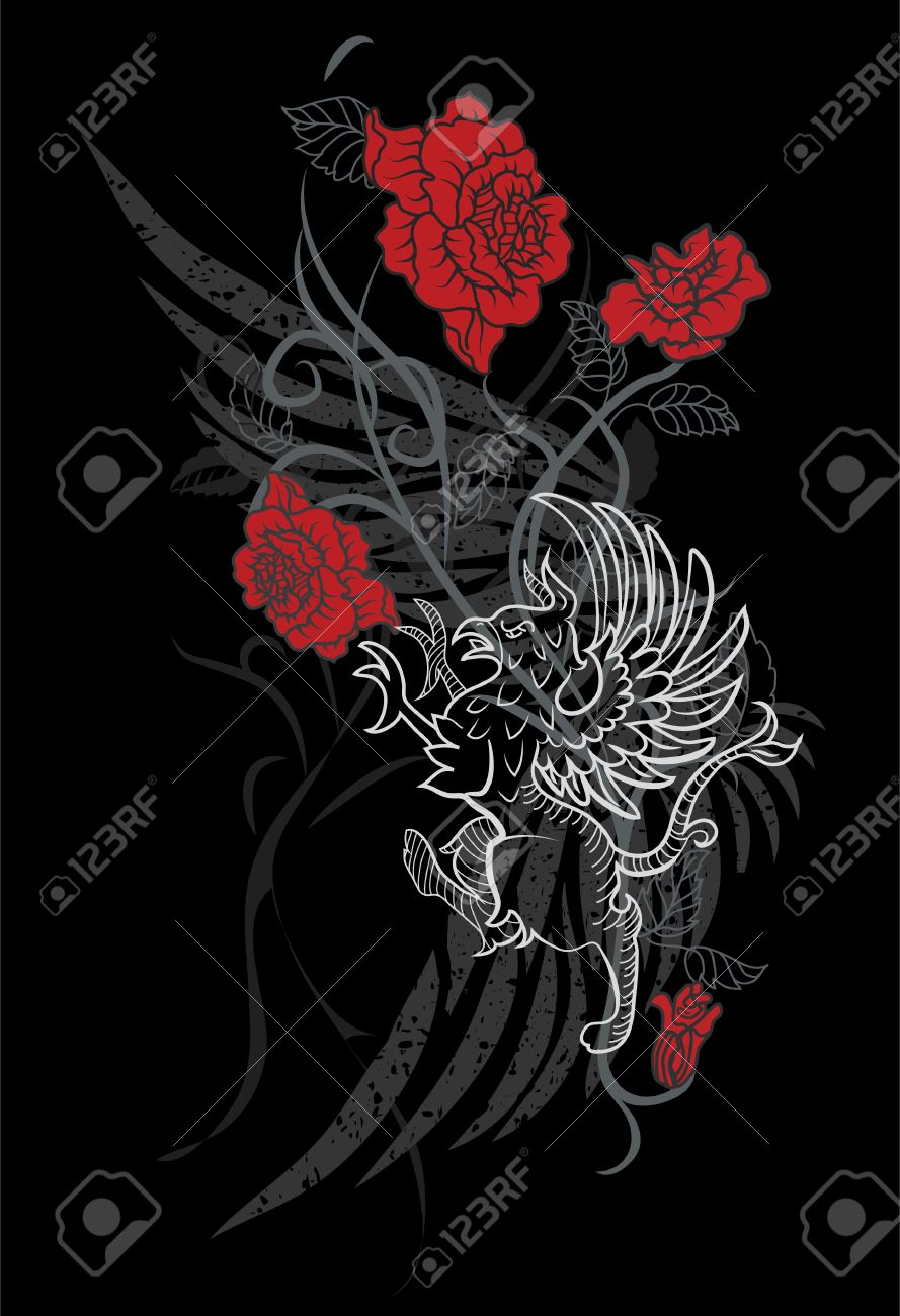 fantasy design with gryphon and roses on black background royalty