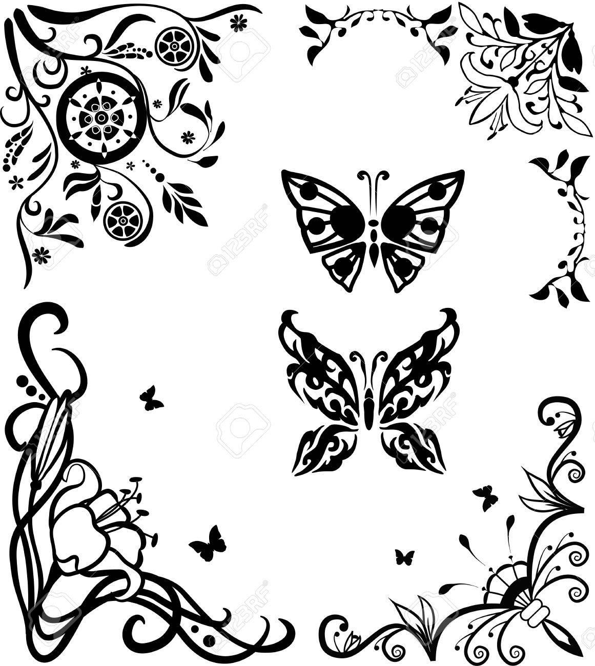 Corner doodle graseful set with butterflies for design Stock Vector - 9639220