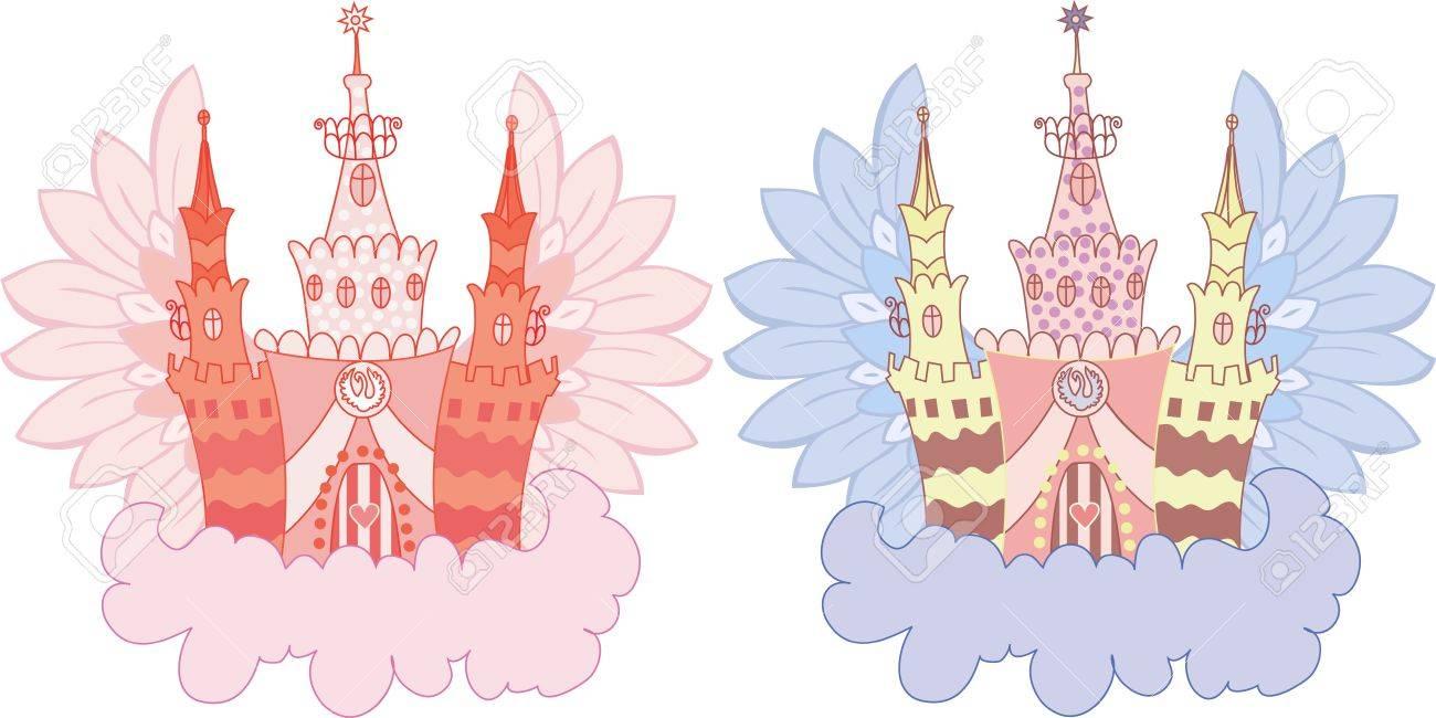 Cartoon fairy castle on a cloud  set Stock Vector - 10120722