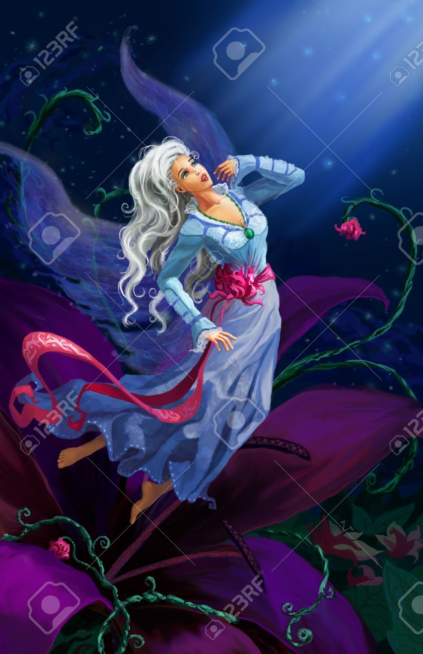 The night fairy flying to the moon against starry sky Stock Photo - 10120720