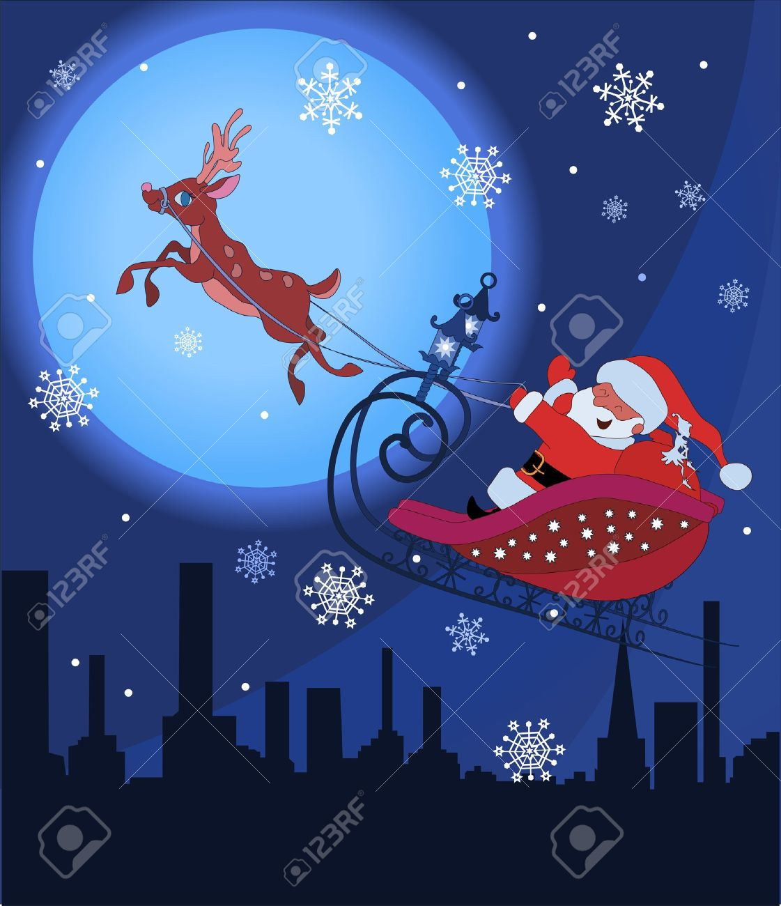 Santa Claus on sledge with Rudolf flying over night town and delivering his christmas gifts Stock Vector - 10363611